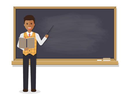 Illustration pour African teacher, black professor standing in front of blackboard teaching student in classroom at school, college or university. Flat design people character. - image libre de droit