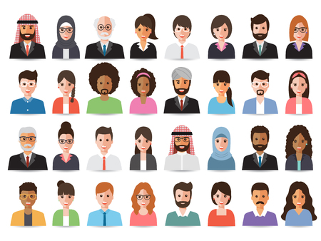 Ilustración de Group of working people, business men and business women avatar icons. Flat design people characters. - Imagen libre de derechos