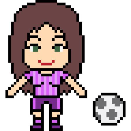 Vector Pixel Art Football Girl Isolated Royalty Free Vector