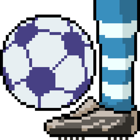 Vector Pixel Art Football Player Leg Isolated Cartoon