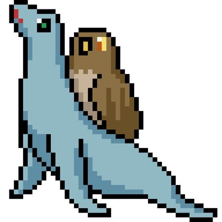 Illustration pour vector pixel art animal buddy isolated cartoon - image libre de droit