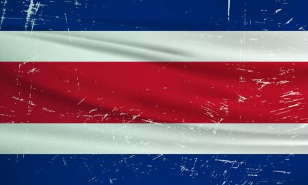 Illustration for Grunge Costa Rica flag. Costa Rica flag with waving grunge texture. Vector background. - Royalty Free Image