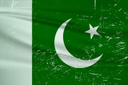 Illustration for Grunge Pakistan flag. Pakistan flag with waving grunge texture. Vector background. - Royalty Free Image
