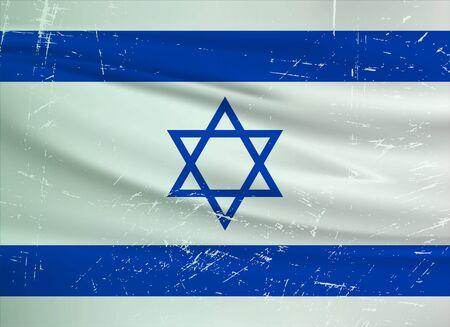 Illustration for Grunge Israel flag. Israel flag with waving grunge texture. Vector background. - Royalty Free Image