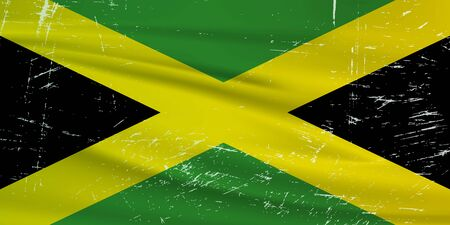 Illustration for Grunge Jamaica flag. Jamaica flag with waving grunge texture. Vector background. - Royalty Free Image