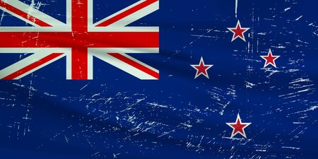 Illustration for Grunge New Zealand flag. New Zealand flag with waving grunge texture. Vector background. - Royalty Free Image