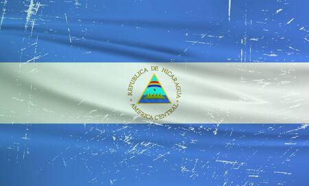 Illustration for Grunge Nicaragua flag. Nicaragua flag with waving grunge texture. Vector background. - Royalty Free Image