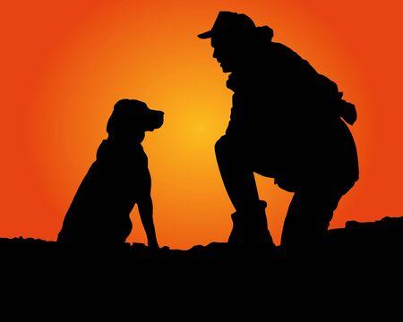 Ilustración de The Man Resting with His Dog - Imagen libre de derechos
