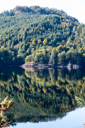 Landscape with beautiful green  scottish mountains,woodland and lake with reflection. Panoramic view. Loch Cluanie fort William. Scotland. Uk. Vibrant colored summertime outdoors vertical image