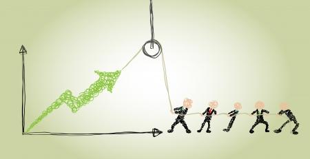businessmen use a hoist to improve business