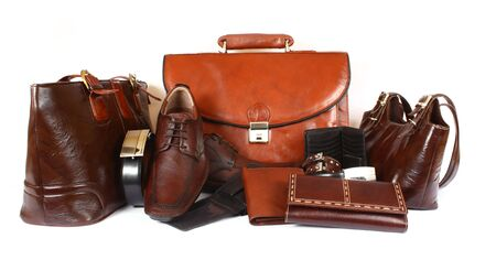 Group of leather products on white background