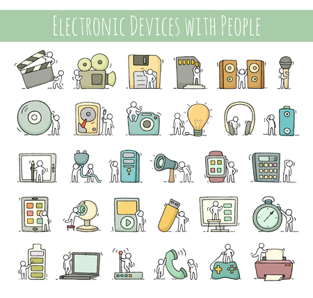 Illustration pour Electronic icons set of sketch working little people with computer, camera. Doodle cute miniature scenes of workers with gadgets. Hand drawn cartoon vector illustration for business design and infographic. - image libre de droit