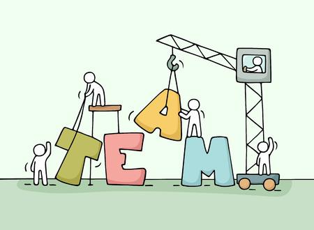 Ilustración de Sketch of teamwork with working little people. Doodle cute miniature of  word construction. Hand drawn cartoon vector illustration for business design and concepts. - Imagen libre de derechos