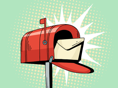 Illustration pour Cartoon pop art red mailbox send letter. Comic hand drawn illustration - mail delivery with envelope. Vector isolated on blue halftone background. - image libre de droit