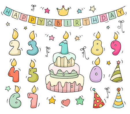 Cute Colorful Number Shaped Candles Set Cartoon Birthday Cake And Lighting In The Form