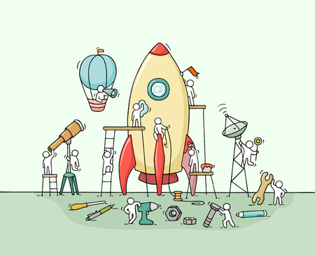 Illustration pour Sketch of working little people with big rocket. Doodle cute miniature scene of workers with startup concept. Hand drawn cartoon illustration for business design and infographic. - image libre de droit
