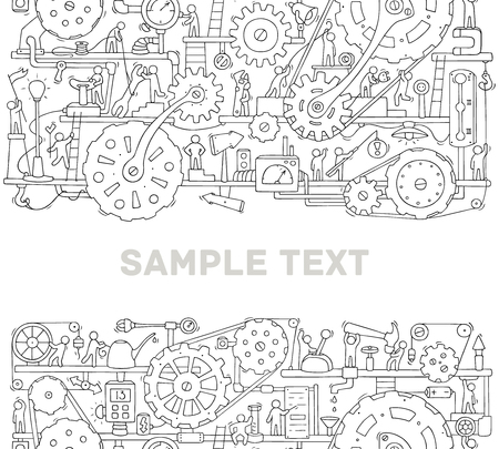 Illustration for Machinery template with space for text. Doodle cartoon mechanism with people and cogwheels. Hand drawn vector illustration for business and industry design isolated on white. - Royalty Free Image