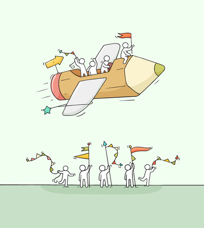 Illustration pour Sketch of working little people with flying pencil. Doodle cute miniature scene of creative workers. Hand drawn cartoon vector illustration for business design and infographic. - image libre de droit