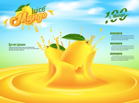 Illustration pour Mango Juice Advertising Banner Ads Vector Template Design - image libre de droit