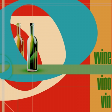 restaurant menu, bottles and colored figures  illustration