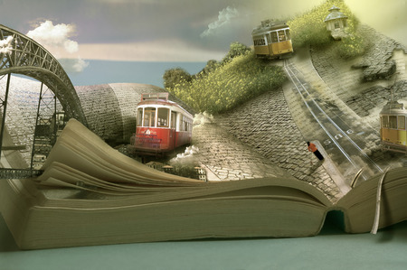 Foto de Magical travel book, trams and towns. Dimensional page open - Imagen libre de derechos