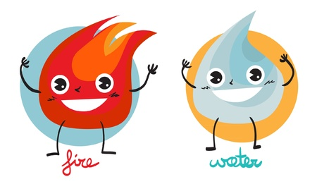 Illustration of two characters  fire and water