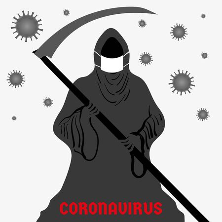 Illustration pour Abstract vector illustration depicting a dark grim reaper in a protective mask in the fight against coronavirus. Graphic element and template for a banner, poster. - image libre de droit