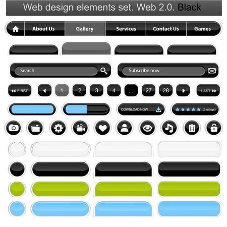 Web design elements set white