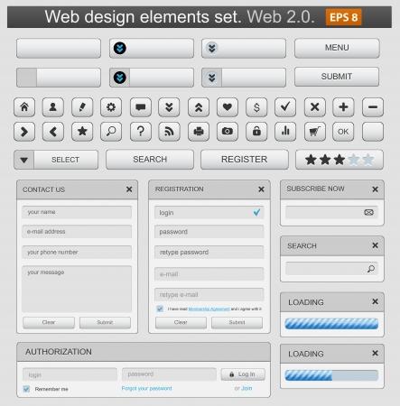 Illustration pour Web design elemets set white. - image libre de droit