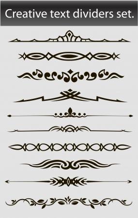 Creative text dividers set  Vector illustration