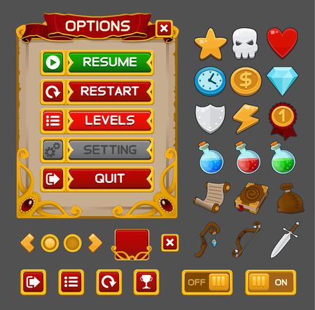 Medieval game GUI pack. Vector illustration