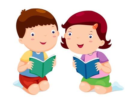 Illustration for Kids reading books - Royalty Free Image