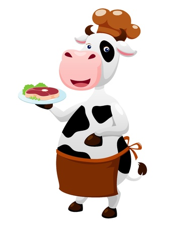 cow cartoon with beef steak royalty free vector graphics cow cartoon with beef steak royalty