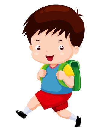 Illustration pour Cute boy go to school - image libre de droit