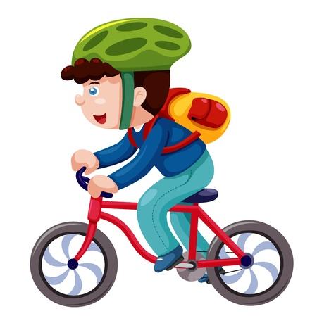 Illustration pour Boy on a bicycle vector - image libre de droit
