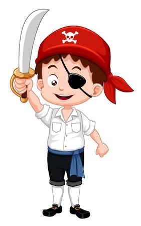 Illustration pour Illustration of pirate boy holding sword - image libre de droit