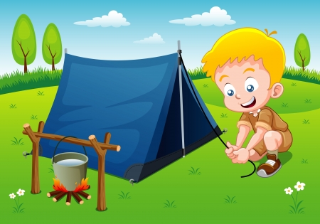 Vektor für Boy scout camping with camping tent - Lizenzfreies Bild