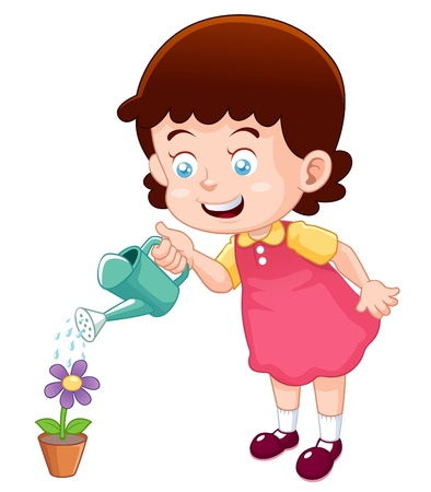 Illustration for illustration of a cute little girl watering flower  - Royalty Free Image