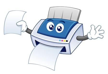 illustration of printer cartoon