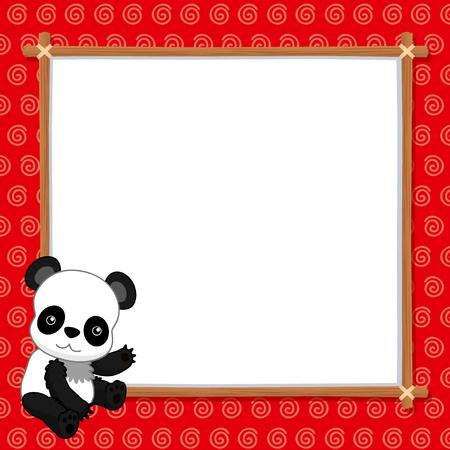 illustration of Panda with white blank