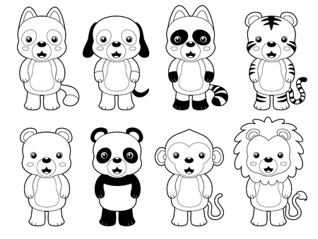 Photo for illustration of cute animal set outline vector - Royalty Free Image