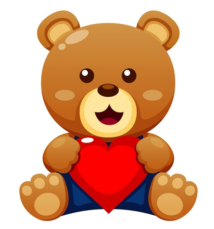 Illustration of Teddy bear with heart vector