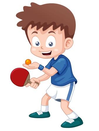illustration of cartoon table tennis player