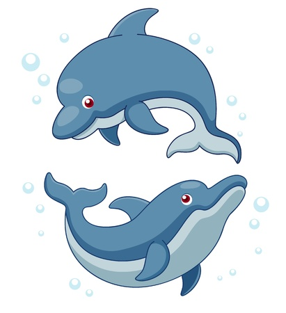 Illustration of Cartoon Dolphins.