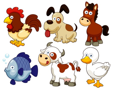 illustration of farm animals cartoonのイラスト素材