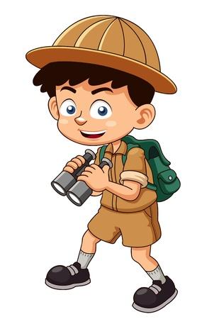 Illustration pour illustration of Boy scout with binoculars - image libre de droit