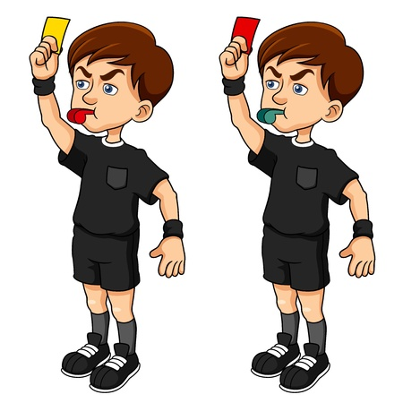 illustration of Cartoon Soccer referees holding red and yellow card