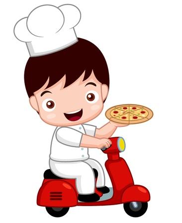 Illustration pour illustration of Cartoon Cute pizza chef on bike - image libre de droit