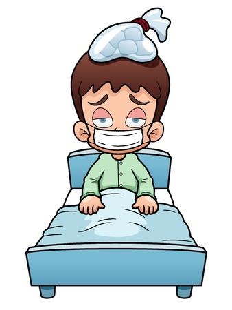 illustration of sick boy cartoon