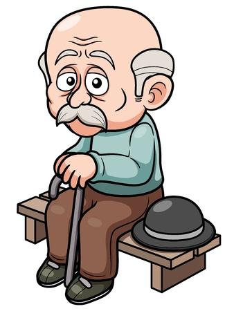 illustration of Cartoon Old man sitting bench